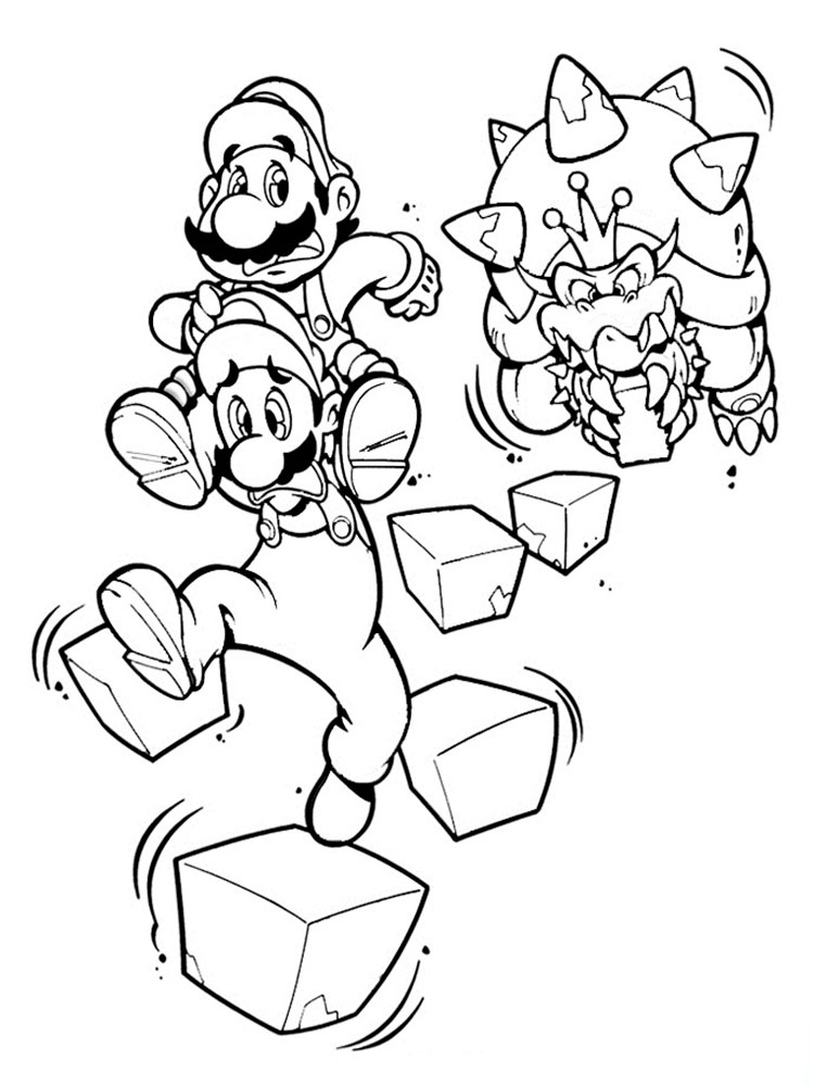 super mario coloring pages bowser